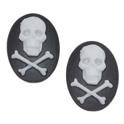 (Beadaholique Vintage Style Lucite Oval Cameo Black & White Skull and Crossbones 25x18mm (2))