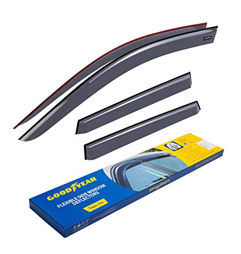 Goodyear Shatterproof Side Window Deflectors for Mitsubishi Outlander Sport 2011-2021, Tape-on Rain Guards, Window Visors for Cars, Vent Deflector, Vent Visor, Car Accessories, 4 pcs- GY003155
