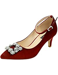 Low Heel Pumps for Women Comfort Kitten Heels Rhinestone...