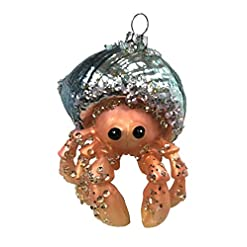 Beach Themed Christmas Ornaments December Diamonds Blown Glass Embellished Hermit Crab Christmas Ornament, Multi, One Size beach themed christmas ornaments