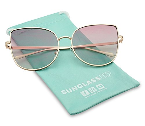 Super Oversized Round High Pointed Metal Cat Eye Butterfly Light Tinted Pink Colored Lens Sunglasses