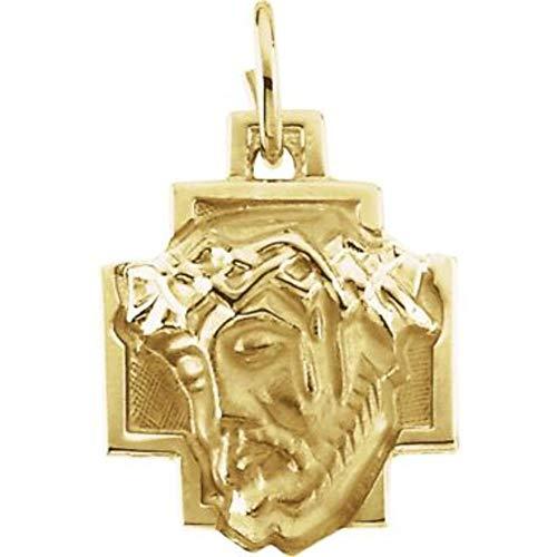 Bonyak Jewelry 14k Yellow Gold 12x12mm Face of Jesus ()