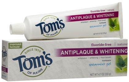 Antiplaque Plus Whitening Gel Toothpaste (Tom's of Maine Antiplaque Plus Whitening Gel-Spearmint-4.7 oz (Quantity of 5))