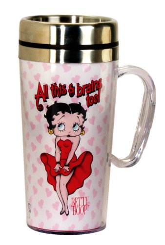 Betty Boop Party Decorations - Betty Boop Brains Insulated Travel Mug, White