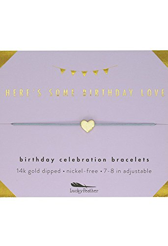 "Lucky Feather - Lucky Feather Happy Birthday Gifts for Women and Girls - 14K Gold Dipped Love Heart Bracelet for Girls on Adjustable 7""- 8"" Cord"