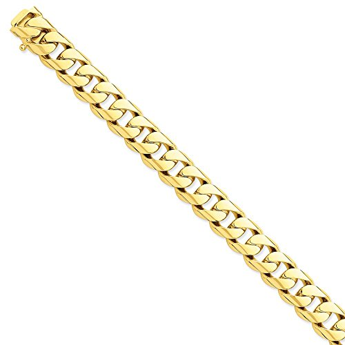 Solid 14k Yellow Gold Big Heavy 13mm Hand-Polished Rounded Cuban Curb Chain Bracelet 8