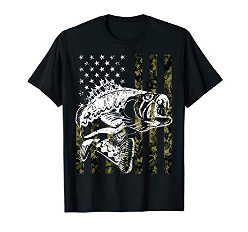 Fishing Tshirt Camouflage USA Flag for Bass Fisherman Gifts (Bass Pro Shops Fishing)
