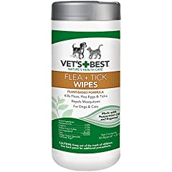 Vet's Best Flea and Tick Wipes for Dogs and Cats, 50 Wipes, USA Made