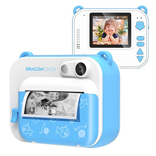 Dragon Touch InstantFun Instant Print Camera for Kids, Zero Ink Toy Camera with Print Paper, Cartoon Sticker, Color Pencils, Portable Digital Creative Print Camera for Boys and Girls – Blue
