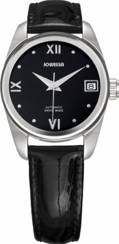 Leather Carlo Watch Monte (Jowissa Women's J4.053.M Monte Carlo Stainless Steel Black Dial Genuine Leather Automatic Date Watch)