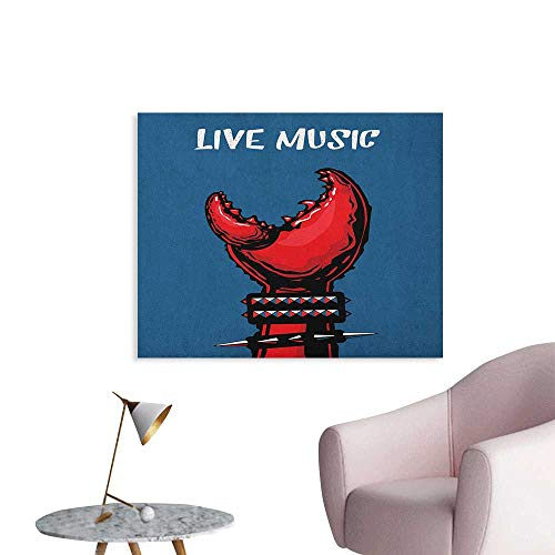 Anzhutwelve Indie Wallpaper Crab Claw with Spiky Wristbands Heavy Rock Live Music Performance Inscription Art Custom Poster Blue Red Black W36 xL24