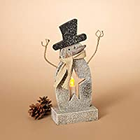 GIL 2421380 12.20 H B/O Lighted Wood Snowm Christmas, 5.2InL x 3InW x 12InH, Grey