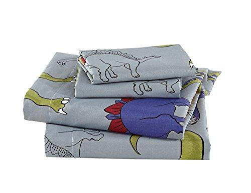 Linen Plus Full Size 4pc Sheet Set for Boys Dinosaur Grey Blue Red New (Size Set Dinosaur Sheet Full)