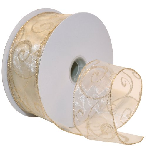 - Morex Ribbon Swirl Wired Sheer Glitter Ribbon, 2-1/2-Inch by 50-Yard Spool, Ivory/Gold