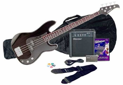 Silvertone LB11 Bass Guitar and Amp Package, Liquid Black by Silvertone