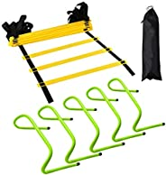 12 Rung Agility Training Ladder Kit – with A Carry Bag, Extra 5pcs of 6 Inch Speed Hurdles– All Purpose Footba