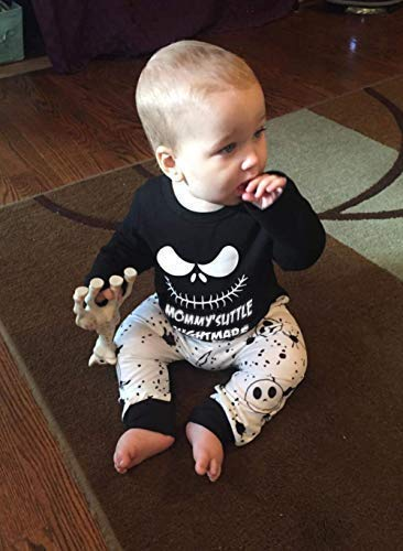 Halloween Baby Boy Girl Clothes 2PCs Outfit Set Nightmare Before Christmas T-Shirt and Skull Pants 0-6T