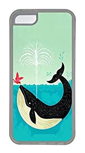 iPhone 5C Case, Customized Protective Soft TPU Clear Case for iphone 5C - Whale Cover