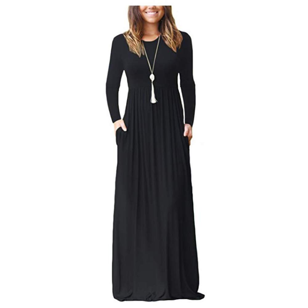 ZNYSTAR Women's Long Sleeve Loose Casual Maxi Dress Pockets