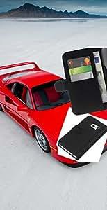 LECELL--Cuero de la tarjeta la carpeta del tirón Smartphone Slots Protección Holder For Samsung Galaxy S6 EDGE -- Red Sports Car --