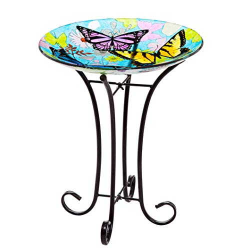 Goose Creek Bird Bath Bowl Garden Décor Glass Plate Birdbath with Metal Stand,Butterfly