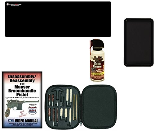 AGI DVD Mauser Broomhandle Broom Handle Pistols Takedown + Ultimate Arms Gear Gunsmith Cleaning Tool Gun Mat + Pistol Cleaning Kit for .22 .357 .38 9mm .44 .45 Tools + Gun Spray + Magnetic Tray