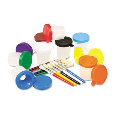 No-Spill Cups & Coordinating Brushes, Assorted Colors, 10/Set, Sold as 1 Set, 10 Each per Set