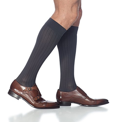 SIGVARIS Men's BUSINESS CASUAL 189 Calf High Compression Socks (Ribbed Diabetic Socks)