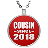 Cousin Since 2018 - Circle Necklace Red/One Size, Silver Plated Charm Pendant, Best