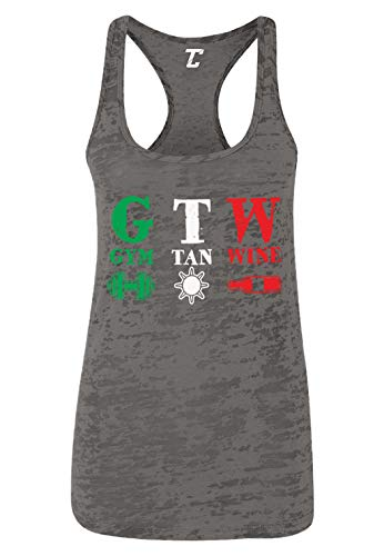 Gym Tan Wine - Beach Shore TV Show Parody Women's Racerback Tank Top (Charcoal, Large) ()