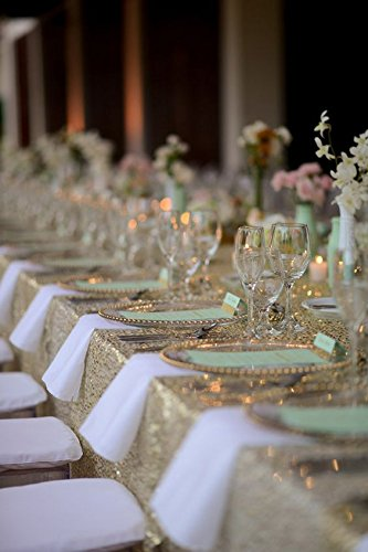 Best Wholesale 10pcs 90x132inch Rectangle Sequin Tablecloth, Light Gold Sequin Tablecloth Shimmer Sequin Fabric,Table Linen Wedding/Party/Evening Dress Decoration by LQIAO