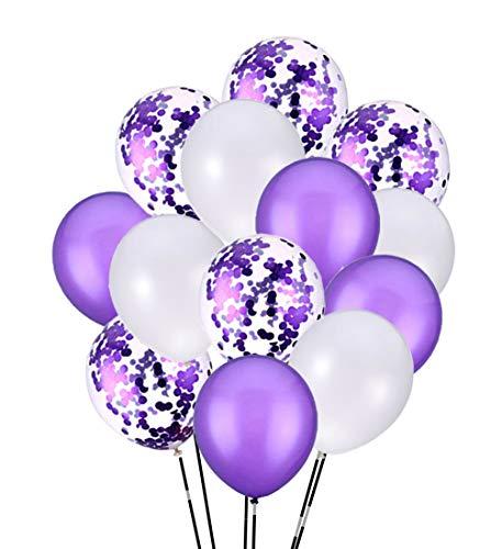 PartyMart Purple Confetti Balloons Latex Balloon, 30pcs, 12 inch