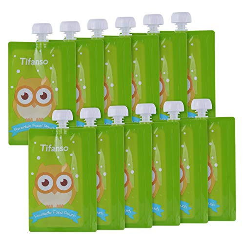 12 Pack 7 oz Owl Reusable Baby Food Squeeze Storage Pouches for Homemade Organic Baby, Toddlers Food - Easy to Fill & Clean Friendly with Leak Proof Double Zipper Refillable Pouch Plus a Flower Funnel