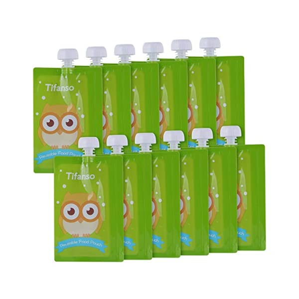 Kerrian Online Fashions 41ucOIJyBXL 12 Pack 7 oz Owl Reusable Baby Food Squeeze Storage Pouches for Homemade Organic Baby, Toddlers, Kids Food - Easy to Fill & Clean with Leak Proof Double Zipper Refillable Pouch Plus a Flower Funnel