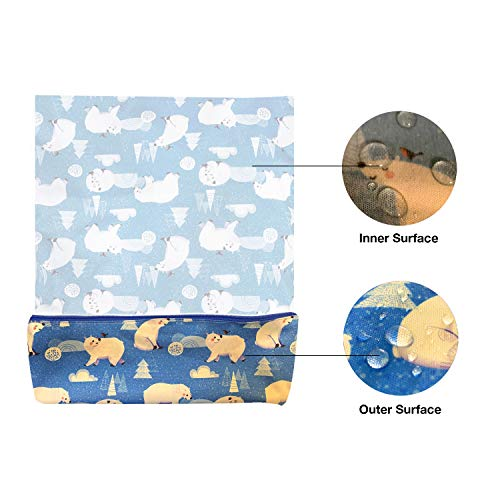 41ucOMgCkTL - FLOCK THREE Waterproof And Reusable Wet Bag Diaper Stroller Water Resistant Swimsuit Travel Toiletries Yoga Gym Washable Carrier Polar Bear Large 12.6'' X 16.5''
