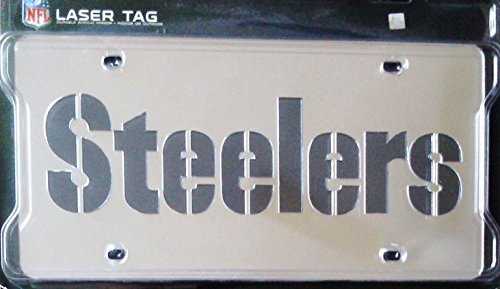 - Pittsburgh Steelers Silver CUSTOM Wordmark Deluxe Laser Acrylic Mirrored License Plate Tag Football