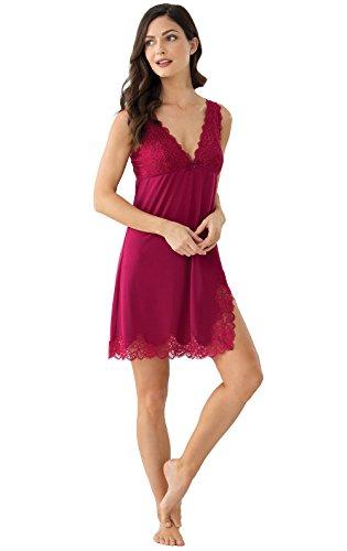 PajamaGram Garnet Lacey Chemise Nightgown for Women, Garnet, MED (8-10) -