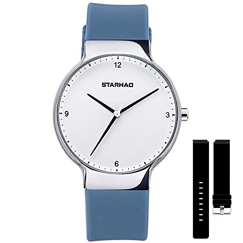 Women's Quartz Analog Wrist Watch with 2 Pair of Soft Silicone Band