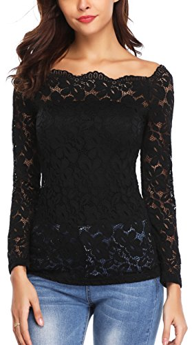 Summer Tops for Women Off Shoulder Beautiful Floral Lace Shirts Twin Set Tops Blouse Black-XS