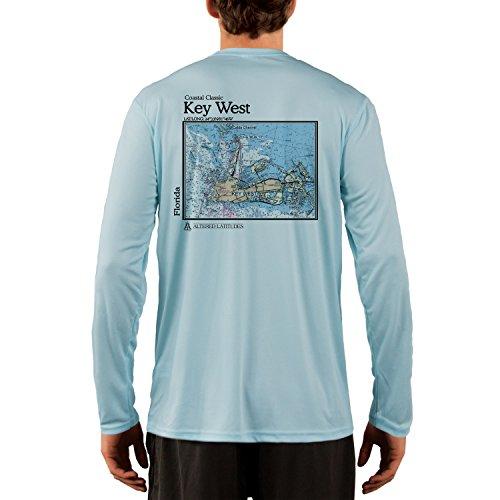 Coastal Classics Key West Chart Men's UPF 50+ Long Sleeve T-Shirt Medium Arctic Blue