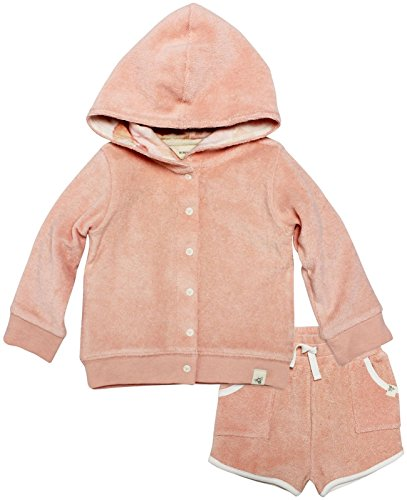 Burt's Bees Baby Organic Knit Terry Hooded Jacket and Short, Peach, 18 (Organic Cotton Hooded Jacket)