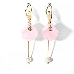 Bling Toman Long Earrings Pink Earrings Cute Drop Earrings Dance Ballet Girl Earrings with Silver Pin (2-Pink)