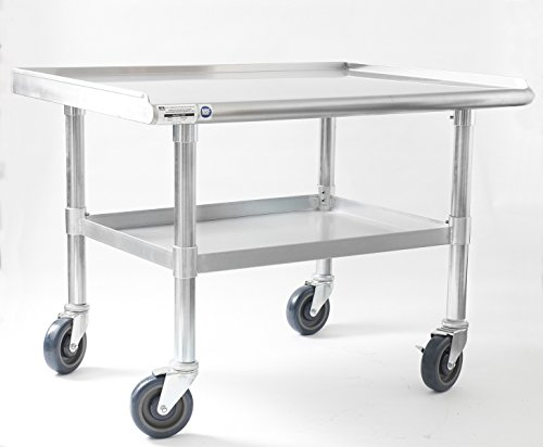 NAKS TABLE-48 Stainless Steel Equipment Stand/Table with Undershelf and Casters, 48-Inch X 27-Inch