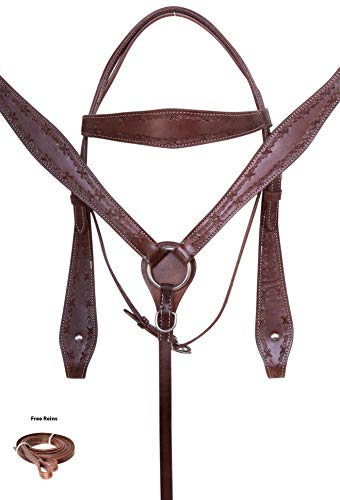 AceRugs Ranch Roping Western Leather Horse TACK Set Package Brown Tooled Headstall Bridle REINS Breastplate (Horse)