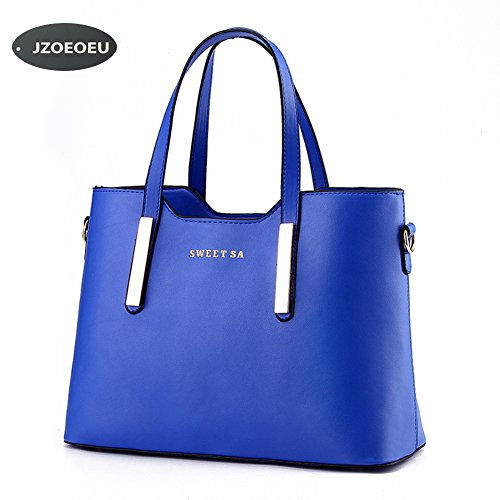 Women's PU Leather Shoulder Bags Top-Handle Handbag Tote Bag Simple Purse Fashion Cross Body Bag,Blue SILI