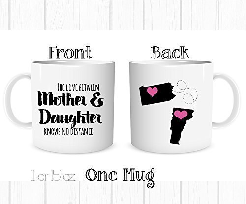 Personalized The Love Between a Mother and Daughter Knows No Distance Mug, Personalized Long Distance State Coffee Cup, All States and Countries, Mother's Day Mom