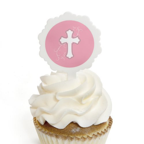 Little Miracle Girl Pink & Gray Cross - Baptism Cupcake Pick