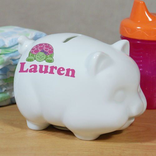 GiftsForYouNow Personalized Ceramic Turtle Piggy Bank, 4