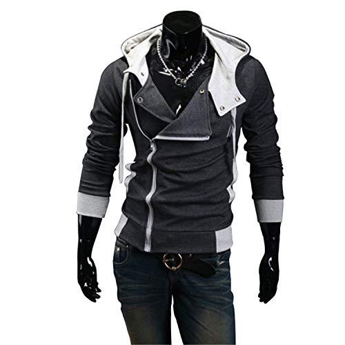 New Casual Cardigan Long Sleeved Slim Fit Male Zipper Hoodies Assassins Creed Jacket Plus Size M-6XL Dark Gray XXL -