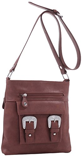 Emperia Roxie Dual Buckle Concealed Carry Messenger Bag, Dark Brown, 10.5 x 1.5 x 10.5